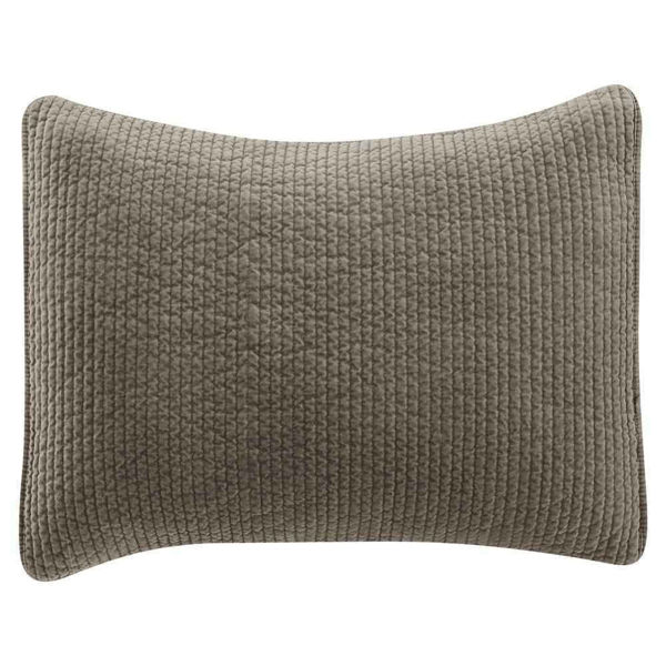 Picture of Stonewashed Cotton Quilted Velvet Sham - Taupe