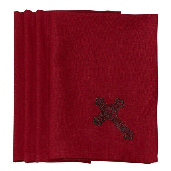 Picture of Cross Napkin - Set of 4 - Red