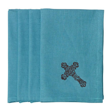 Picture of Cross Napkin - Set of 4 - Turquoise