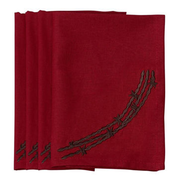 Picture of Barbwire Napkin - Set of 4 - Red