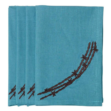Picture of Barbwire Napkin - Set of 4 - Turquoise