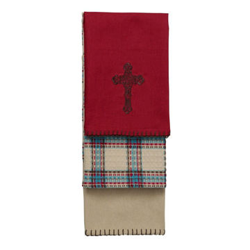 Picture of Cross Kitchen Towel 3-Piece Set - Red