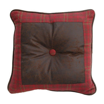 Picture of Cascade Lodge Square Faux Leather Plaid Pillow