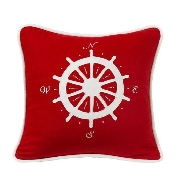 Picture of Nautical Red Pillow with Compass applique - multi