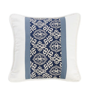Picture of Nautical Pieced Pillow with printed stripe detail