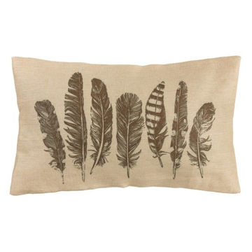 Picture of Tossed Feather Burlap Pillow