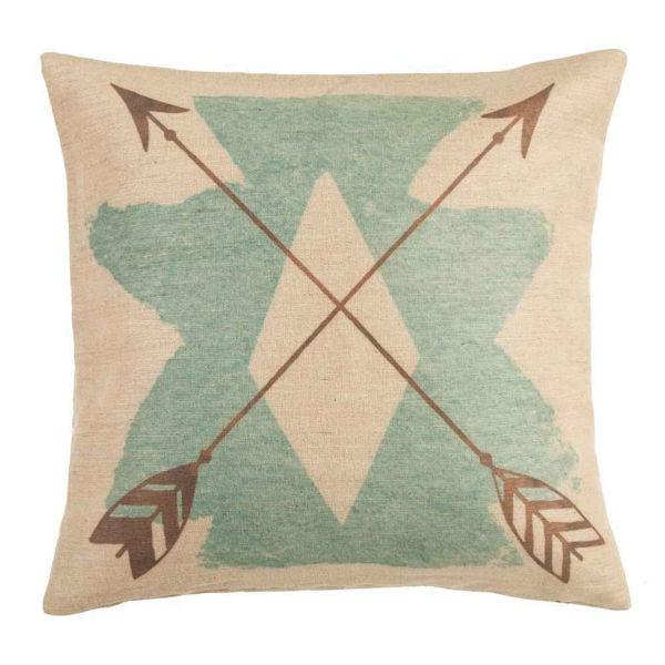 Picture of Burlap turquoise aztec Pillow