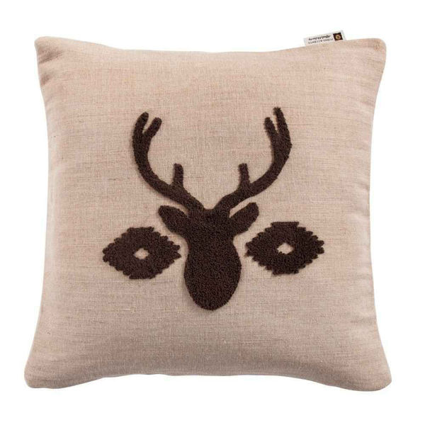 Picture of Aztec Deer Bust Embroidered Burlap Pillow