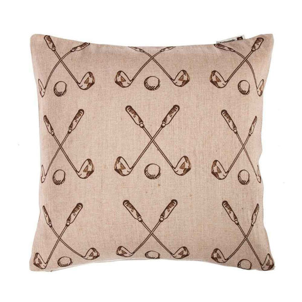 Picture of Burlap Golf Club and Ball geometric Pillow