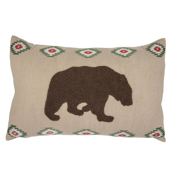 Picture of Aztec Bear Embroidered Burlap Pillow