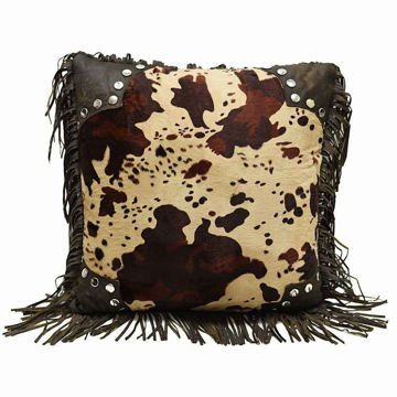 Picture of Scalloped Faux Cowhide Pillow