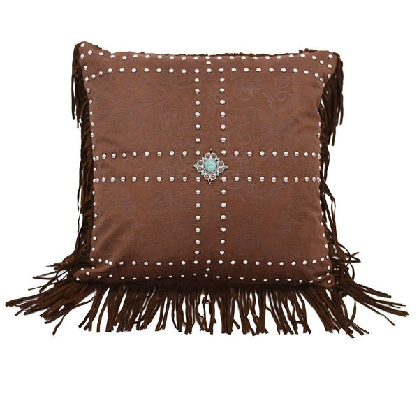 Picture of Faux Leather Concho and Studs Pillow