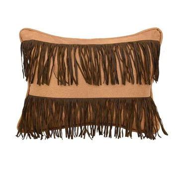 Picture of Fringed Faux Leather Pillow