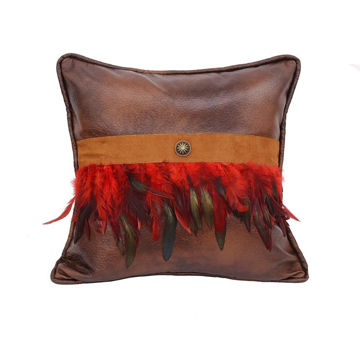 Picture of Faux Leather Red Feathers Pillow