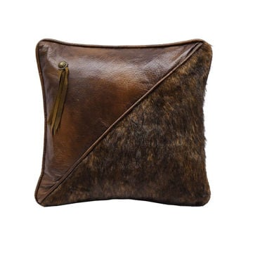 Picture of Half Faux Fur and Faux Leather Pillow