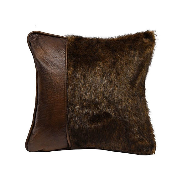 Picture of Fur and Faux Leather Pillow