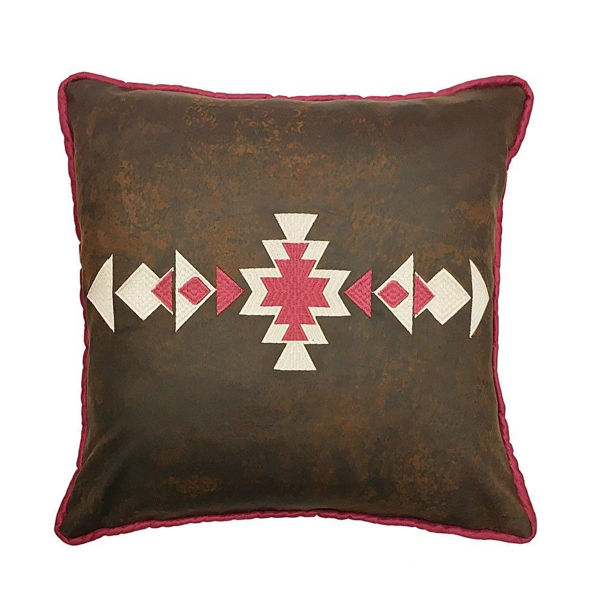 Picture of Faux Leather Southwestern Pillow