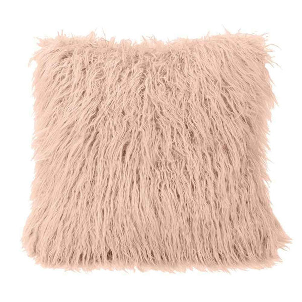 Picture of Mongolian Fur Square Pillow - Blush