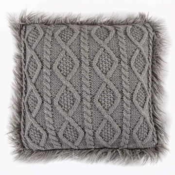 Picture of Nordic Cable Knit Mongolial Fur Pillow - Gray