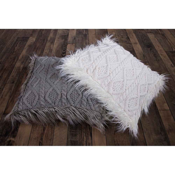 Picture of Nordic Cable Knit Mongolial Fur Pillow - White