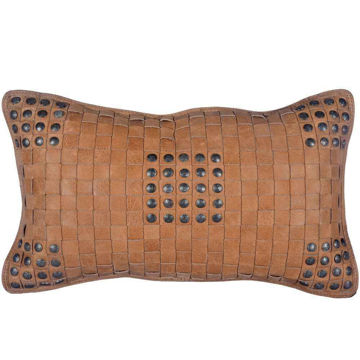 Picture of Genuine Leather Soft Tan Basket Weave Pillow