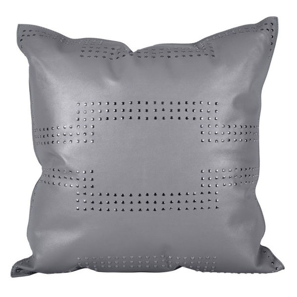 Picture of Genuine Leather Geometric Studded Pillow