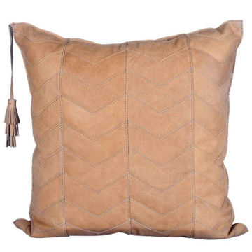 Picture of Genuine Leather Chevron Tassel Pillow
