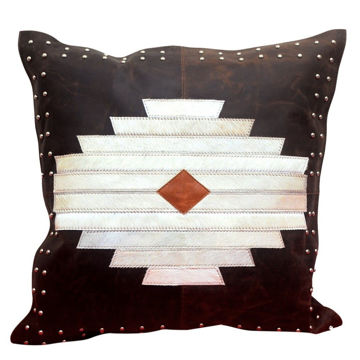 Picture of Genuine Leather Aztec Leather and Hide Pillow