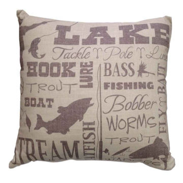 Picture of Lake Text Collage Pillow
