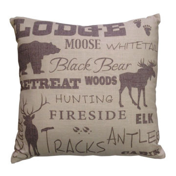 Picture of Lodge Text Collage Pillow