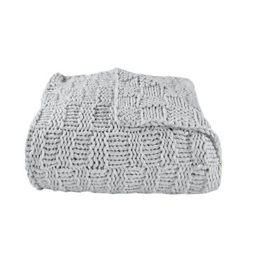 Picture of Chess Knit Throw - Gray
