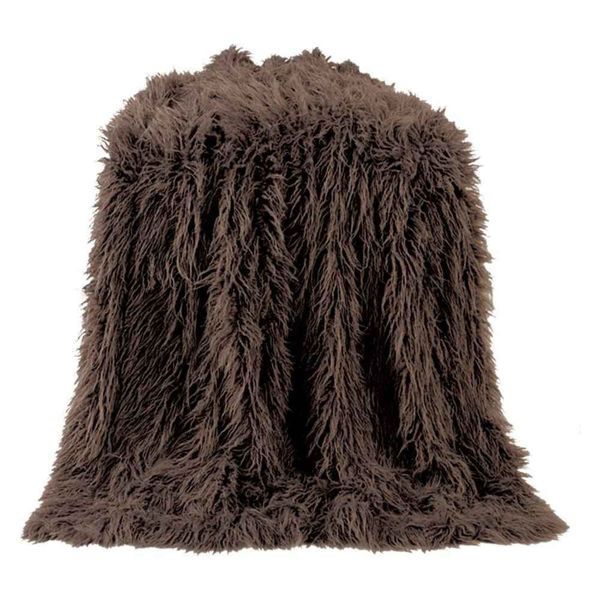 Picture of Mongolian Faux Fur Throw - Brown