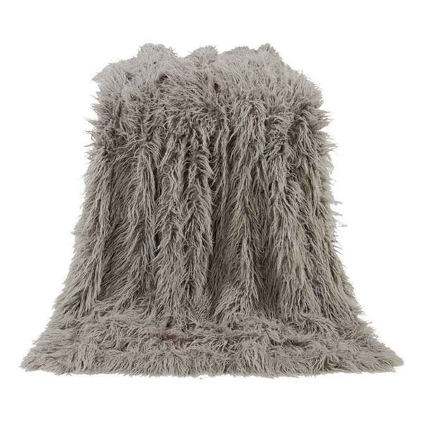 Picture of Mongolian Faux Fur Throw - Gray