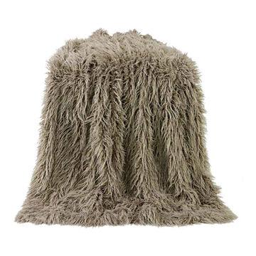 Picture of Mongolian Faux Fur Throw - Tan