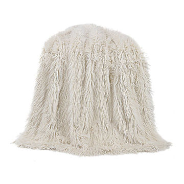 Picture of Mongolian Faux Fur Throw - White