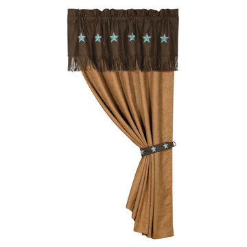 Picture of Laredo Embroidered Star Curtain - Turquoise