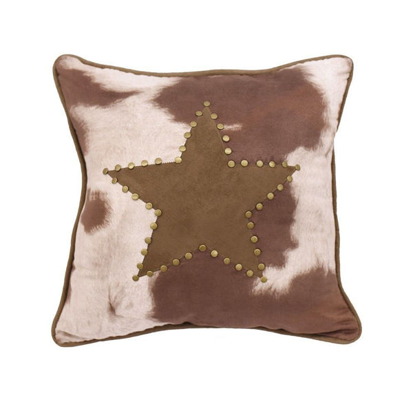 Picture of Faux Cowhide Star Pillow