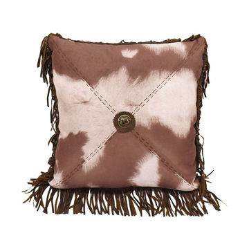 Picture of Faux Cowhide Star Concho Pillow