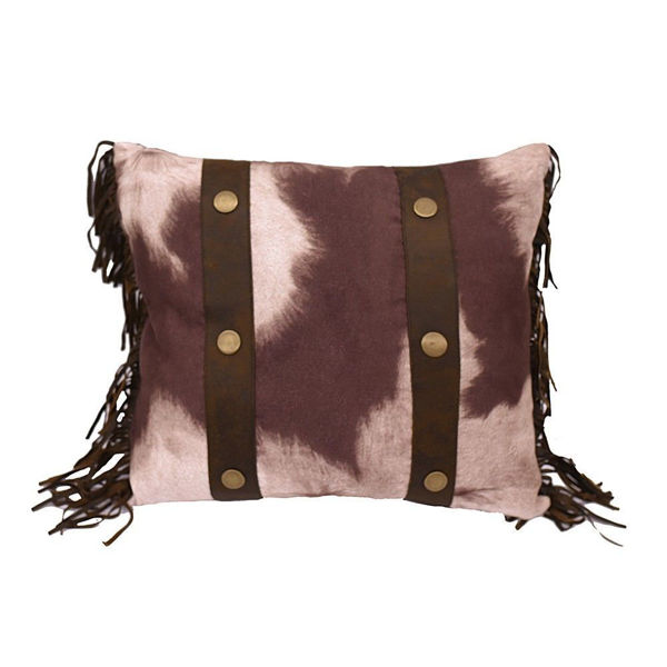 Picture of Faux Cowhide Fringe Pillow