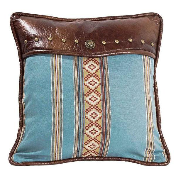Picture of Ruidoso Square Blue Striped Pillow