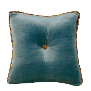 Picture of San Angelo Teal Velvet Tufted Pillow
