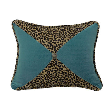 Picture of San Angelo Leopard and Teal Sectioned Pillow