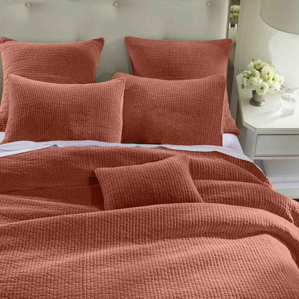 Picture of Stonewashed Cotton Velvet Quilt - Salmon