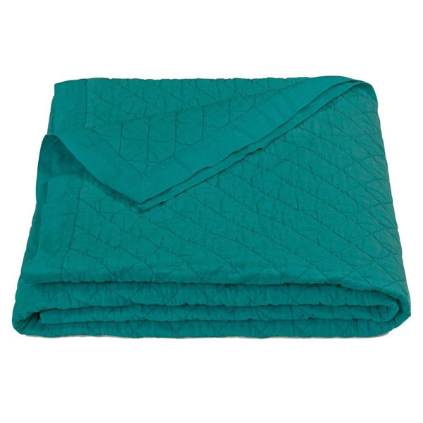Picture of Diamond Pattern Linen Quilt - Turquoise