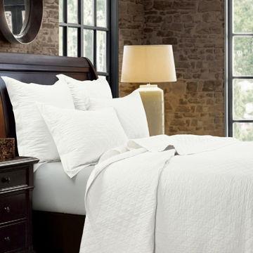 Picture of Diamond Linen Quilt Set - White