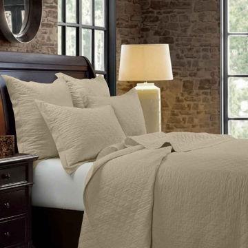 Picture of Diamond Linen Quilt Set - Tan