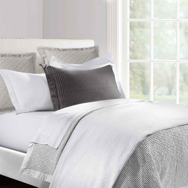 Picture of Waffle Weave 3-Piece Coverlet Set - Gray