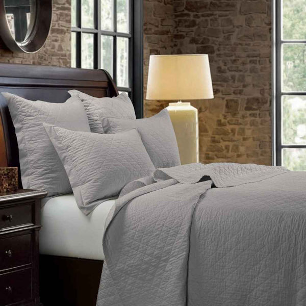 Picture of Diamond Linen Quilt Set - Gray