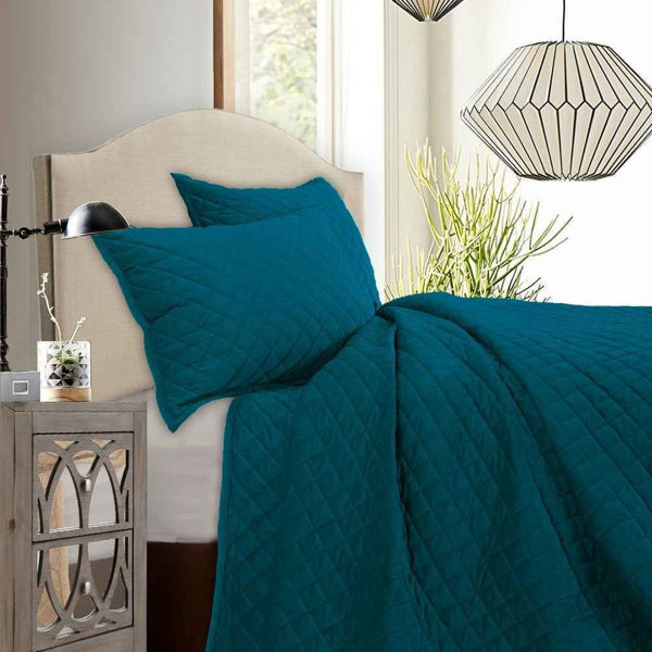 Picture of Diamond Velvet 3-Piece Quilt Set - Teal