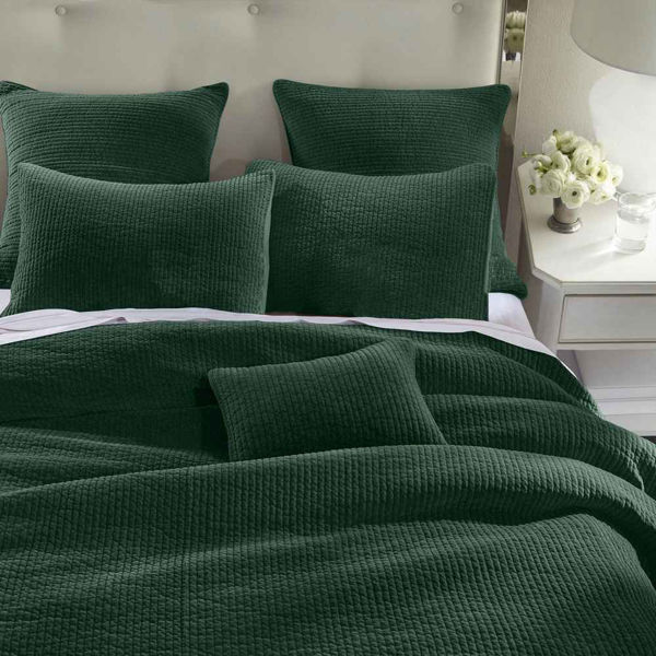 Picture of Stone Wash Velvet 3-Piece Quilt Set - Emerald